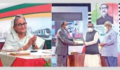 On behalf of Prime Minister Sheikh Hasina, Liberation War Affairs Minister AKM Mozammel Haque hands over national integrity service award to Abdur Rouf Talukder, Senior Secretary of Finance Division, at a function on the occasion of signing the Annual Performance Agreement (APA) of various ministries and departments for the FY 2021-2022 at the Osmani Memorial Auditorium in the capital on Sunday. Cabinet Secretary Khandker Anwarul Islam was present.  PID PHOTO