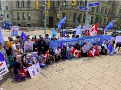 Protesters in Canada urge Prime Minister Trudeau to recognise Uyghur genocide in China