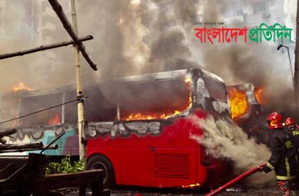 2 AC busses gutted in Motijheel garage fire