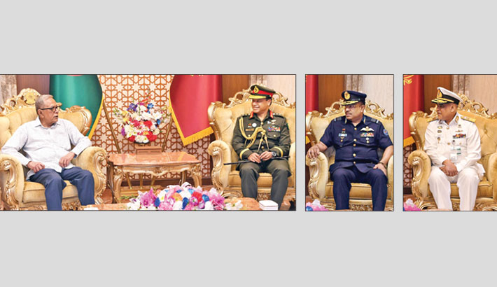 (From left) Chief of Army Staff General SM Shafiuddin Ahmed, Chief of Air Staff Air Marshal Shaikh Abdul Hannan, and acting Navy Chief Real Admiral M Abu Ashraf call on President M Abdul Hamid separately at Bangabhaban in the capital on Sunday.   —PID photo