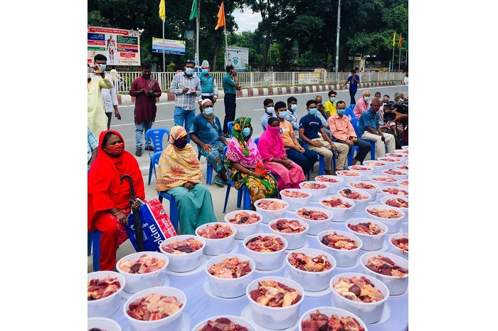 Jubo League distributes sacrificial meat among poor in Rangpur