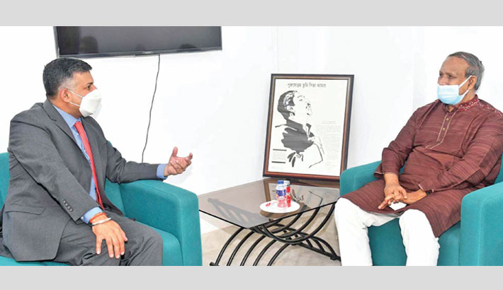 Indian High Commissioner to Bangladesh Vikram Kumar Doraiswami calls on Science and Technology Minister Architect Yeafesh Osman at the latter's secretariat office in the  city on Tuesday.—SUN PHOTO