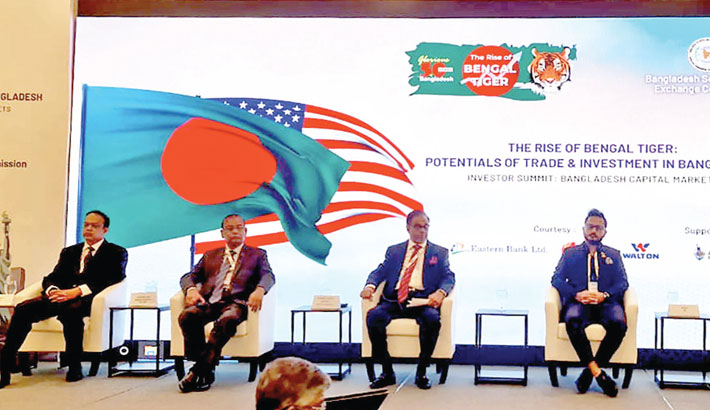 NRB Bank Chairman Mohammed Mahtabur Rahman is seen at the Investor Summit titled 'The Rise of Bengal Tiger: Potentials of Trade and Investment in Bangladesh,' organised by Bangladesh Securities and Exchange Commission at hotel Intercontinental at New York Barclay in USA on Monday.