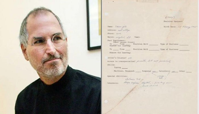 Job application of Steve Jobs auctioned for 2.5 crores, applied at the age of 18