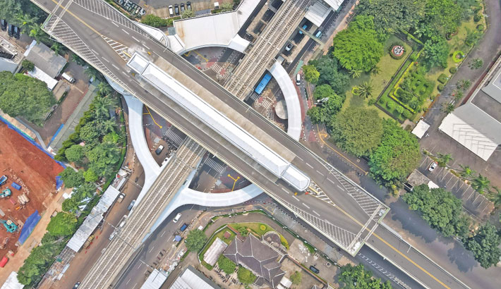 This aerial picture shows the under-construction integrated terminal, which will link commuter rail lines and city bus routes, in Jakarta on Saturday.