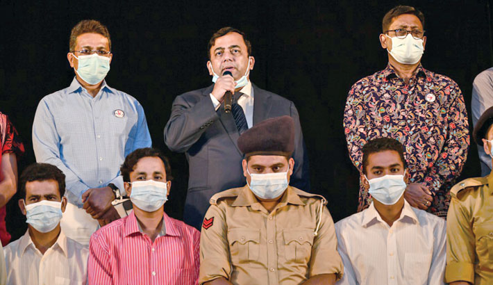 Inspector General of Police Benazir Ahmed speaks at the opening stage show of   Bangladesh Police Theatre Troupe's new production 'Abhishapta August' at Bangladesh Police Auditorium in the capital's Rajarbagh area on Saturday.