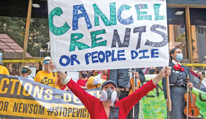 Renters and housing advocates attend a protest to cancel rent and avoid evictions in front of the court house amid Coronavirus pandemic in Los Angeles, California. Millions of Americans face could find themselves homeless starting on Sunday as a nationwide ban on evictions expires, against a backdrop of surging coronavirus cases and political fingerpointing. With billions in government funds meant to help renters still untapped, President Joe Biden this week urged Congress to extend the 11-month-old moratorium, after a recent Supreme Court ruling meant the White House could not do so.