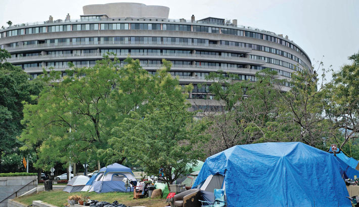 A view of a campsite near the Watergate as the number of homeless encampments grow in Washington, DC recently.