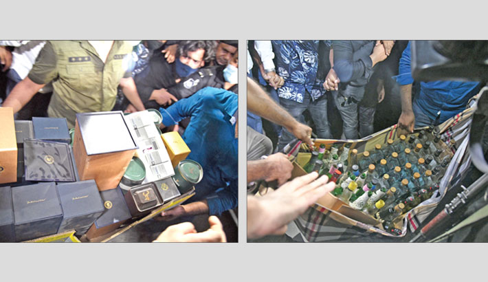 Rab recovers a huge quantity of illegal drugs during a raid on the residence of actress Pori Moni in the city's Banani area on Wednesday. —SUN PHOTO