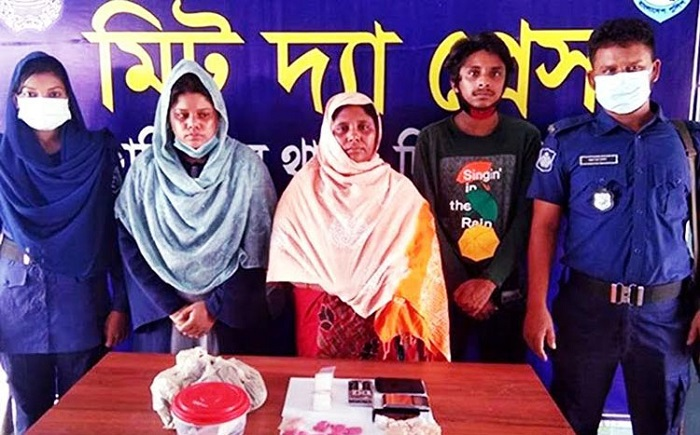 Mother, daughter, son held with huge drugs in Hili