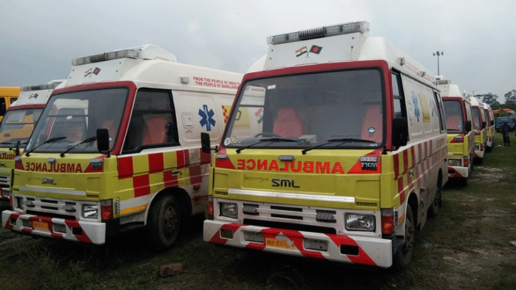 30 ambulances arrive in Bangladesh from India