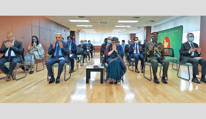 Permanent Representative of Bangladesh to the United Nations (UN) Ambassador Rabab Fatima along with others offers munajat at the Permanent UN Mission in New York on Friday, marking the 72nd birth anniversary of Sheikh Kamal, the eldest son of Father of the Nation Bangabandhu Sheikh Mujibur Rahman.   — PID PHOTO