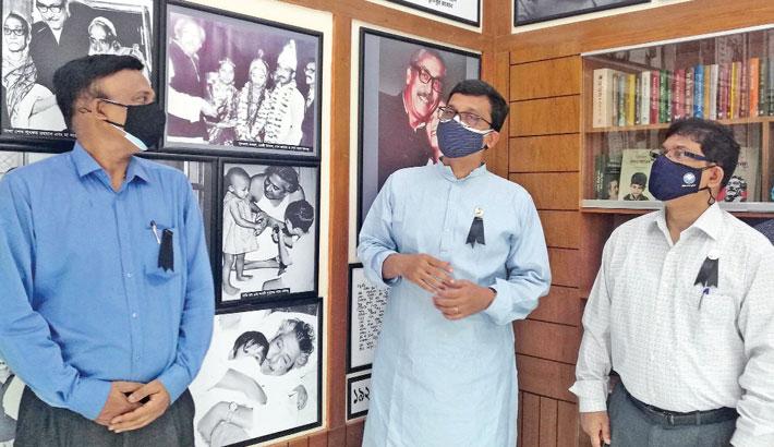 State Minister for Shipping Khalid Mahmud Chowdhury visits 'Bangabandhu Corner' set up at Bangladesh Inland Water Transport and Corporation (BIWTC) in the capital on Monday.