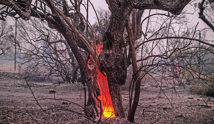 Efforts underway to stop Greek island blaze