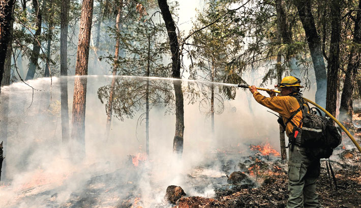 A firefighter employed by J. Franco Reforestation works to extinguish a control burn, a preventative measure to protect a home located on North Valley Road on Monday in Greenville, California. The Dixie Fire, which has incinerated nearly 500,000 acres, is the second-largest recorded wildfire in state history and remains only 21 percent contained. — AFP PHOTO