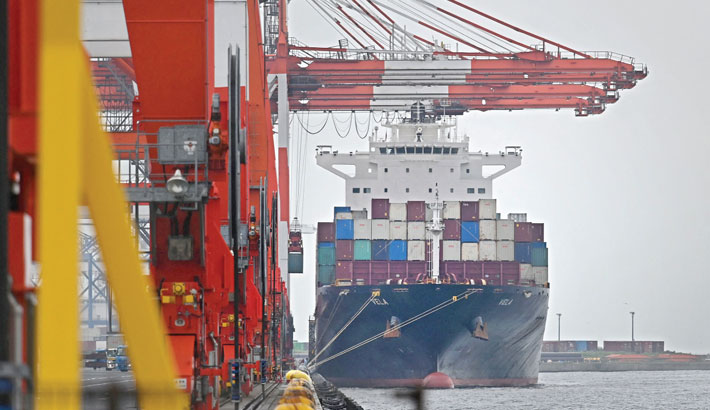 A cargo ship berths at the international cargo terminal at the port of Tokyo on Monday.