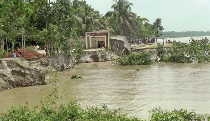 Erosion by the Jamuna river has taken a serious turn at Bhairabbari village under Kalihati Upazila of Tangail district, devouring, croplands, houses and educational institutions. The photo was taken on Monday.– Sumon Khan