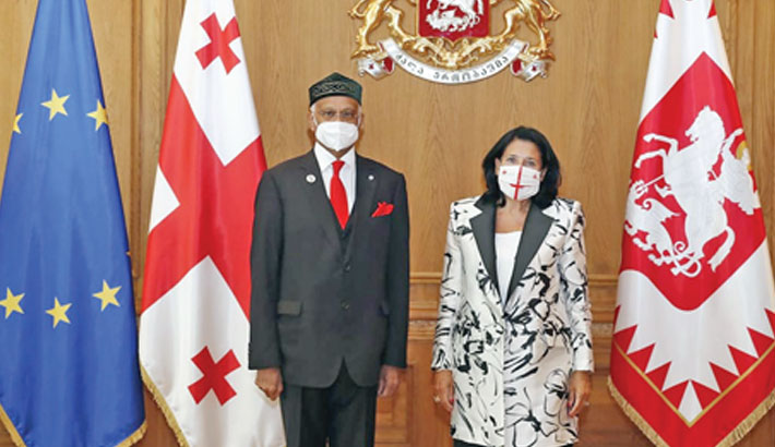Bangladesh Ambassador Mosud Mannan poses for a photo with President of Georgia Salome Zourabichvili, as the former presented his credentials to the president at the Presidential Palace in Tbilisi on September 3.
