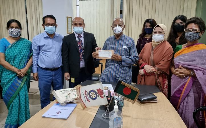 Donation for rehabilitation of paralysed people in Barishal