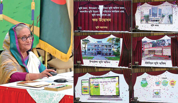 Prime Minister Sheikh Hasina virtually inaugurates the 'Bhumi Bhaban' of the Land Ministry, land office buildings at upazila and union-level, online payment of land development tax and land data bank from her official Ganabhaban residence in the capital on Wednesday.—PID PHOTO