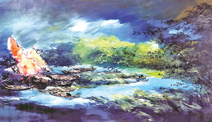 Shohag Parvez's solo art exhibition 'My Country' begins today