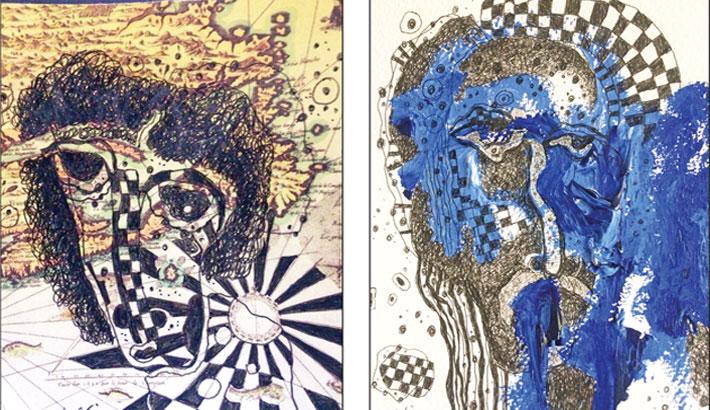 Tajuddin's visages merge with subtle tint and line