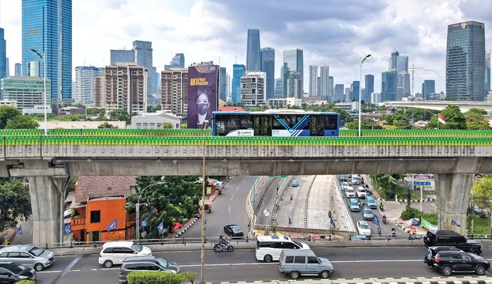 This aerial picture shows motorists commuting in Jakarta on Wednesday.