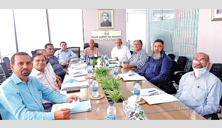 Shippers' Council of Bangladesh (SCB) Chairman Md Rezaul Karim presides over the 8th meeting of the Board of Directors of the association at its head office at Dhanmondi in the capital on Wednesday.