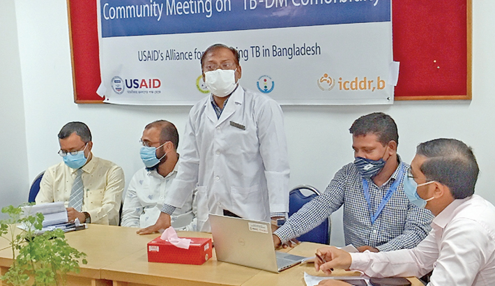 Acting Director of Feni Diabetes Hospital Dr Md Moazzem Hossain speaks as the chief guest at a one-day TB-DM orientation programme held at the conference room of the district Diabetic Association office in the town on Thursday. It was jointly organised by United States Agency for International Development (USAID) and icddr,b.— Sun Photo