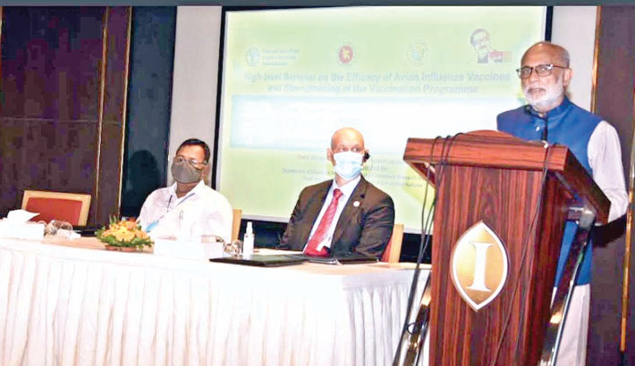 Fisheries and Livestock Minister SM Rezaul Karim speaks at a high-level seminar on Efficacy of Avian Influenza Vaccines and Strengthening Vaccination Programme at a hotel in the capital on Saturday.    —SUN PHOTO