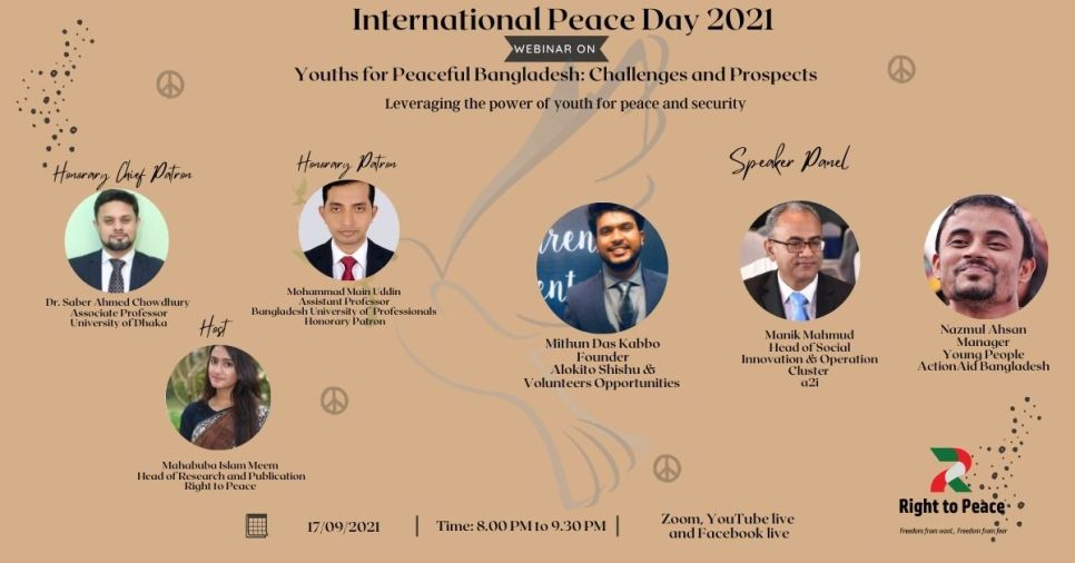 Participation of youth in decision-making process must be ensured to establish Peaceful Bangladesh: Right to Peace