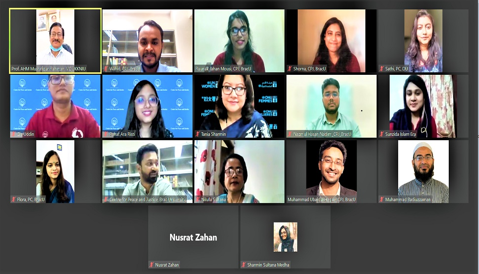Centre for Peace and Justice, Brac University in partnership with UN Women organised a virtual Peace Adda event to celebrate International Day of Peace