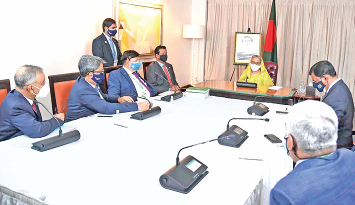 Prime Minister Sheikh Hasina presides over a virtual roundtable on 'Bangladesh Forward: The Frontier for Growth', organised by US-Bangladesh Business Council, at Lotte New York Palace in New York on Wednesday.