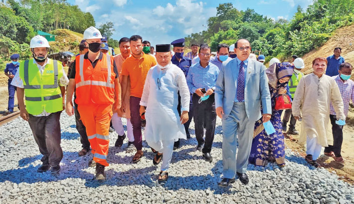 Railways Minister Nurul Islam Sujan visits ongoing Chattogram–Cox's Bazar rail line construction project on Wednesday. – Sun Photo