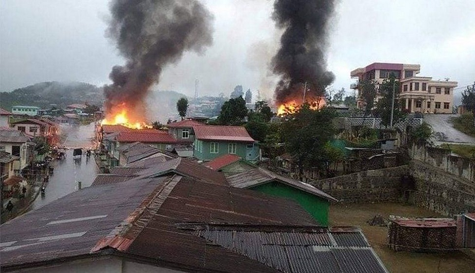 Most residents of Myanmar town flee amid fighting