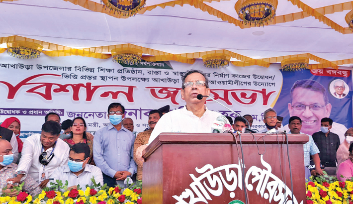 Law, Justice and Parliamentary Affairs Minister Anisul Huq speaks as the chief guest at a public meeting in Akhaura Upazila Field of Brahmanbaria of Thursday. —Sun Photo