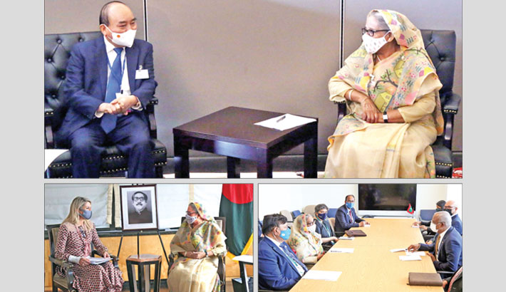 (Clock-wise from top) Prime Minister Sheikh Hasina holds bilateral meetings with Vietnamese President Nguyen Xuan Phuc and President of the Maldives Ibrahim Mohamed Solih at the UN Headquarters in New York on Thursday. Queen Maxima of the Netherlands pays a courtesy call on the prime minister at the latter's place of residence in New York on the day. PID PHOTO