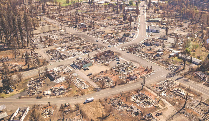 The photo shows the decimated remains are seen in Greenville, California on Friday. The Dixie fire has burned almost 1 million acres and remains at 94 percent containment after burning through 5 counties and more than 1,000 homes. — AFP PHOTO