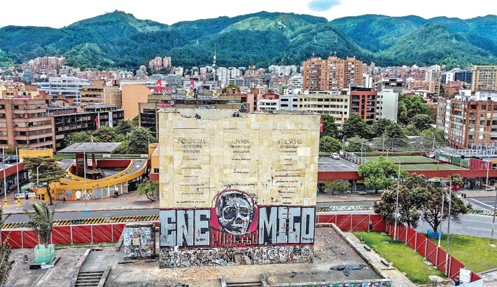 Workers demolish the Heroes Monument which was the meeting point of protestors against Colombian President Ivan Duque's tax reform in Bogota  recently. According to the Mayoress of Bogotá, this intervention is part of the preliminary works necessary for the construction of the Bogotá Metro.