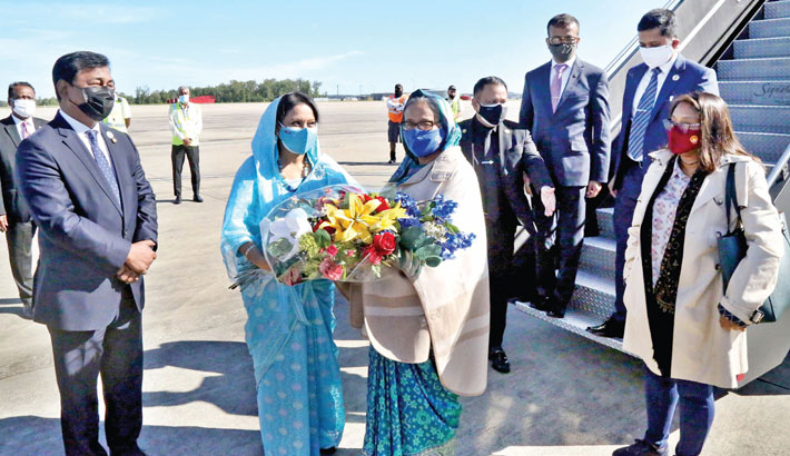 Prime Minister Sheikh Hasina reaches Washington DC from New York on Saturday, wrapping up a week-long official visit to attend the 76th United Nations General Assembly (UNGA) at the UN Headquarters and high-voltage side events. — PID PHOTO