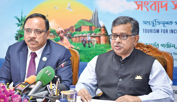 State Minister for Civil Aviation and Tourism Md Mahbub Ali speaks at a press conference at the secretariat in the capital on Sunday, marking World Tourism Day.