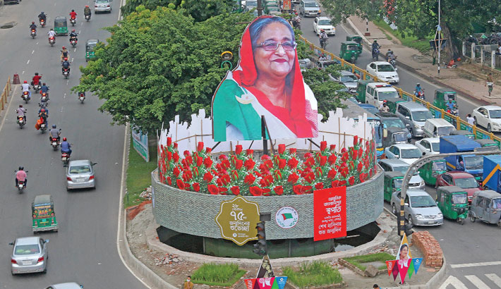 The 75th birthday of Prime Minister and Awami League President Sheikh Hasina will be celebrated across the country today. On the occasion of her birthday, Bangladesh Awami League has decorated Bijoy Sarani Road in the capital. The photo was taken on Monday. – Md Nasir Uddin