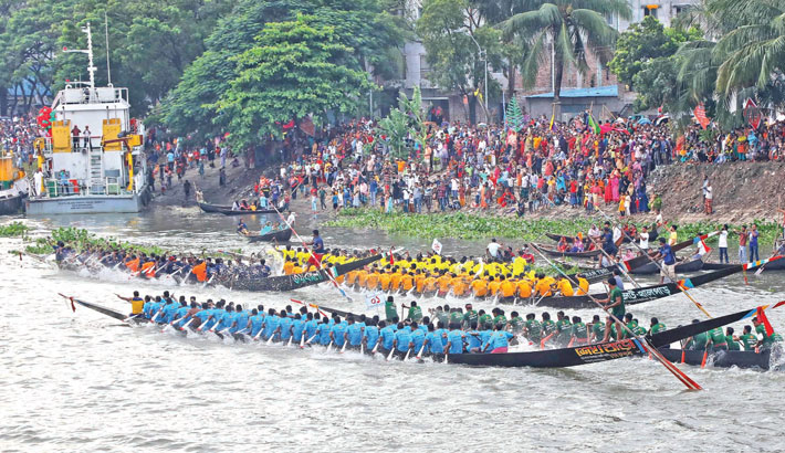 A colourful boat race, popularly known as Nouka Baich, was held in the river Buriganga in the capital on Tuesday. The Ministry of Shipping arranged the race on the occasion of the 75th birthday of Prime Minister Sheikh Hasina. — MD NASIR UDDIN