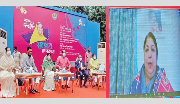Jatiya Sangsad Speaker Dr Shirin Sharmin Chaudhury speaks at a virtual discussion on Tuesday, marking the 75th birthday of Prime Minister Sheikh Hasina. —SUN PHOTO