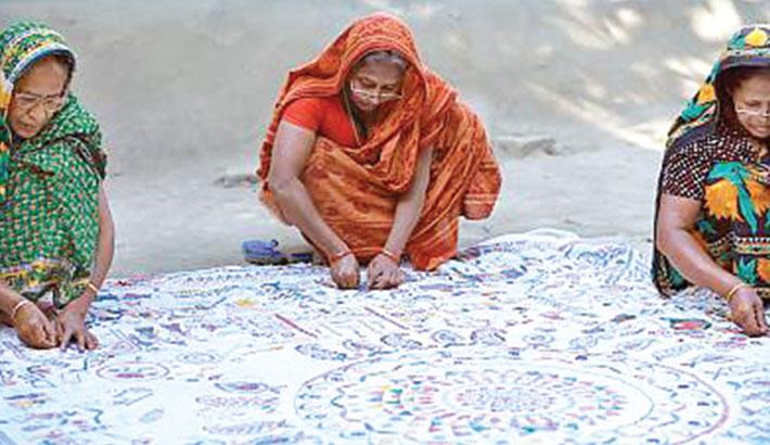 Marjina stitching life with 'Nakshi Kantha'