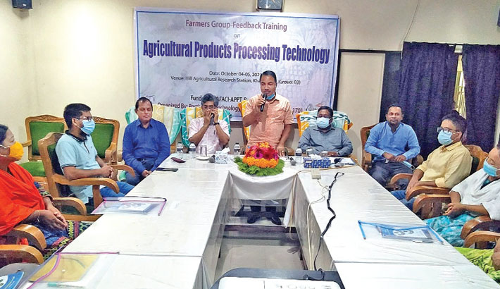 """Khagrachhari Sadar Upazila Parishad Chairman Md Shane Alam speaks as the chief guest at Farmers Group Feedback Training workshop on """"Processing and Preparation of Guava and Pineapple Natural Jam Jelly' held at Hill Agricultural Research Station conference room in the district town on Tuesday. Postharvest Technology Division (PHTD) of Bangladesh Agriculture Research Institute (BARI) organised the workshop. – SUNPHOTO"""