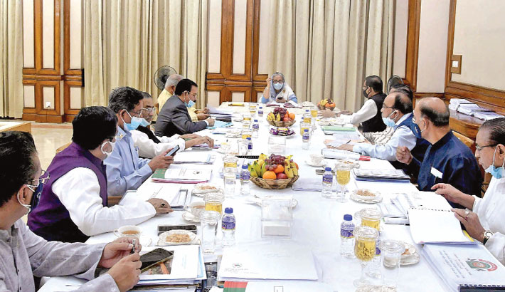 Prime Minister Sheikh Hasina presides over a meeting of the parliamentary nomination board and local government representatives' nomination board of Awami League at Ganabhaban in the capital on Friday.  —PID PHOTO