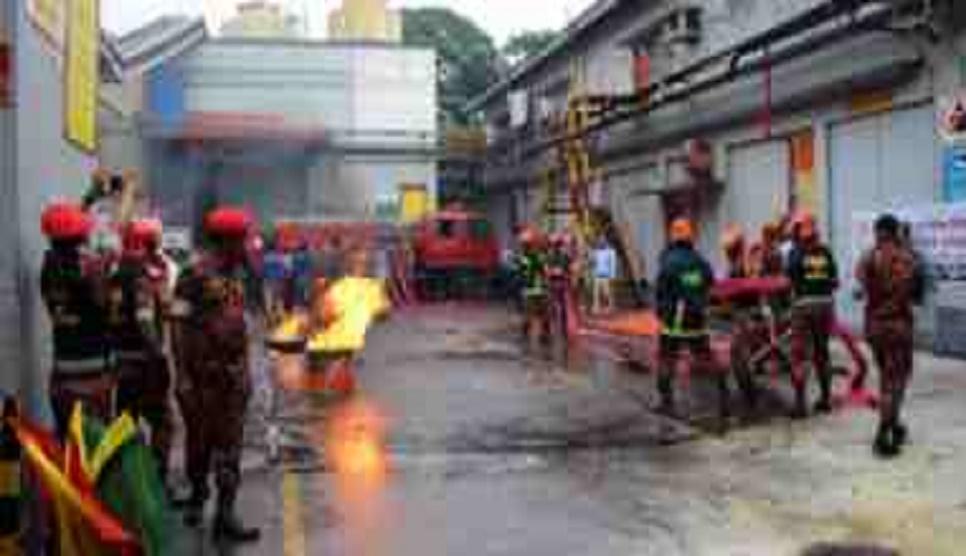 Firefighters hold drill at Bangabazar Market