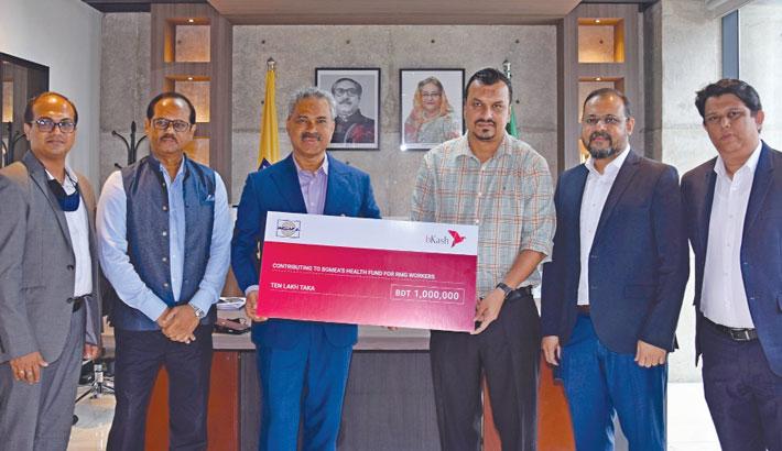 bKash donates Tk 1m to BGMEA health fund