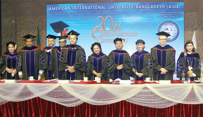 Education Minister Dr Dipu Moni, Deputy Minister of the Ministry Mohibul Hassan Chowdhoury, British High Commissioner to Bangladesh Robert Chatterton Dickson, Dr Hasanul A Hasan, Chairman of the AIUB Board of Trustees, and AIUB Vice-Chancellor Dr Carmen Z Lamagna along with others attend the 20th convocation ceremony of American International University-Bangladesh (AIUB) at the university auditorium in the capital on Sunday. — SUN PHOTO
